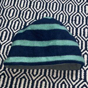 HANNA ANDERSON • Striped Blue Teal Fleece Hat Cap